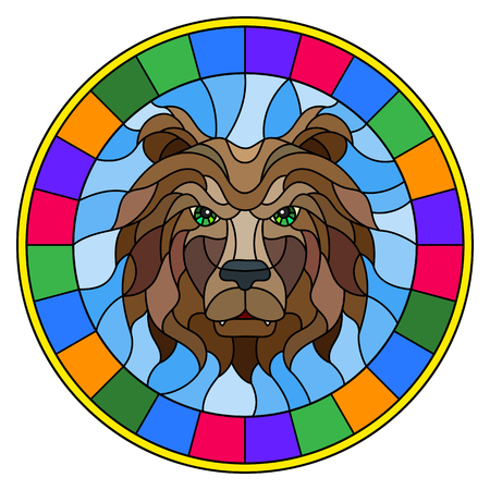The illustration in stained glass style painting with a bear's head , a circular image with bright frame