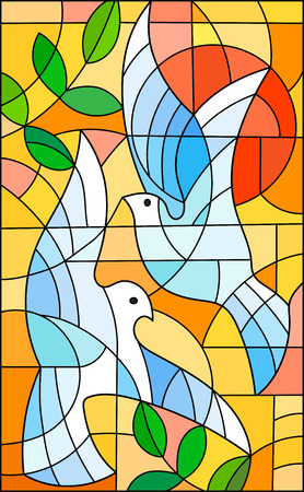 Illustration in stained glass style with abstract pigeons, the sun and branches n bright orange sky