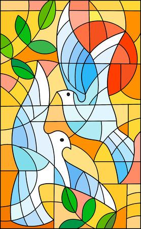 Illustratie in gebrandschilderd glasstijl met abstracte duiven, de zon en takken n heldere oranje hemel