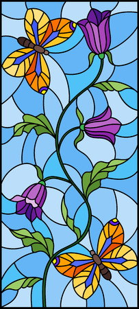 Illustration in stained glass style with abstract curly purple flower and an orange butterfly on blue background , vertical image Ilustração