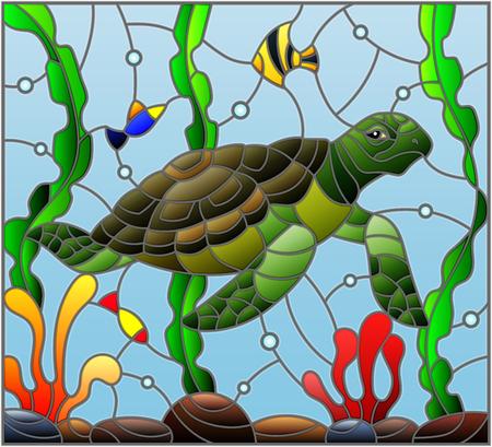 Illustration im Buntglasstil mit Meeresschildkröte auf dem Meeresbodenhintergrund mit Algen, Fisch und Steinen