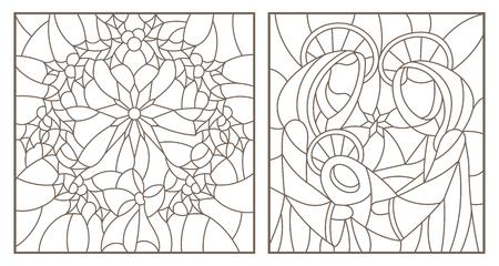 Ensemble d'illustrations de contour de vitraux sur le thème biblique, Jésus bébé avec Marie et Joseph et guirlande de Noël avec Holly, contours sombres sur fond blanc Banque d'images - 102429428