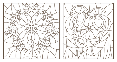 Set of contour illustrations of stained glass Windows on biblical theme, Jesus baby with Mary and Joseph and Christmas wreath with Holly, dark outlines on white background Ilustracja