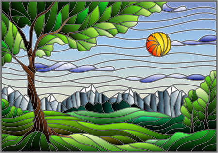 Illustration in stained glass style with landscape, green tree on mountain landscape and Sunny sky background