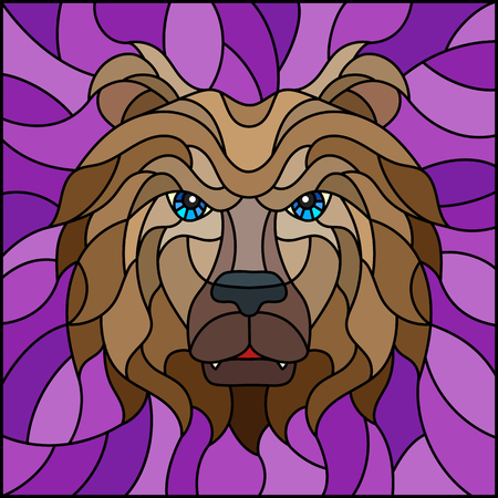 The illustration in stained glass style painting with a bear's head , on purple background, square image Vector Illustration