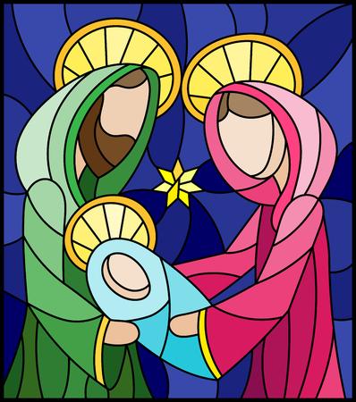 Illustration dans le style de vitrail sur le thème biblique, Jésus bébé avec Marie et Joseph, figures abstraites sur fond bleu, image rectangulaire Banque d'images - 102462317