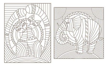 Set of outline illustrations in the style of stained glass with abstract cats and elephant, dark outlines on white background Ilustração