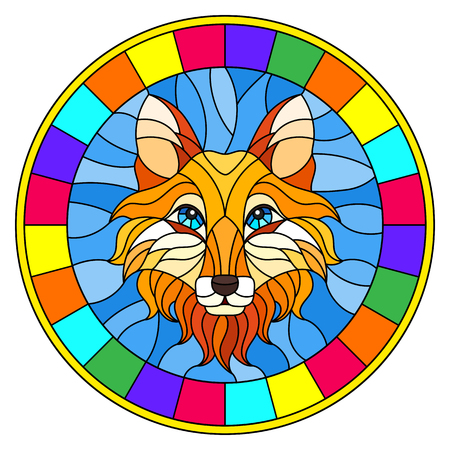 The illustration in stained glass style painting with a fox head , a circular image with bright frame Vector Illustration