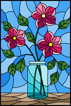 Illustration in stained glass style with still life, bouquet of pink flowers in a glass jar on a blue background