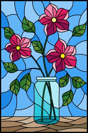 Ilustración en estilo vitral con naturaleza muerta, ramo de flores rosadas en un frasco de vidrio sobre un fondo azul Ilustración de vector