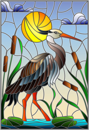 Illustration in stained glass style with brown  heron ,  reeds on a pond in the sun, sky and clouds and sun