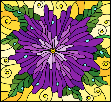 Stained glass window style illustration with abstract purple flower with leaves and dew drops on yellow background