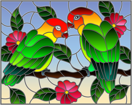 Illustration in stained glass style  with pair of birds parrots lovebirds on branch  tree with pink flowers against the sky