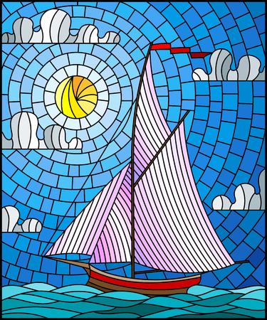 Illustrazione in stile vetro colorato con una nave che naviga con vele bianche contro il mare, il sole e il cielo, vista sul mare