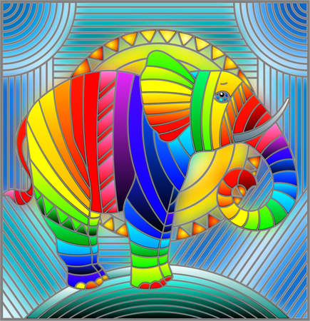 Illustration in stained glass style elephant abstract rainbow geometric background with sun 矢量图像