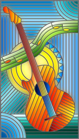 Ilustracja w stylu witrażu na temat muzyki, abstrakcyjnej gitary i nut na niebieskim tle