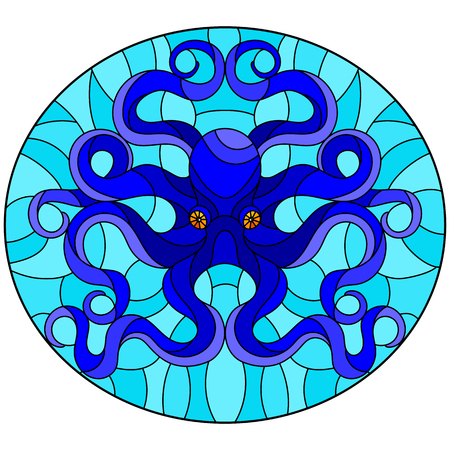 Illustration in stained glass style with abstract blue octopus against a blue sea ,round picture