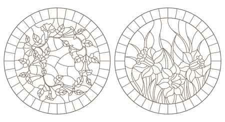 Set of contour illustrations with colors, loam and daffodils in frames, round images, dark contours on white background