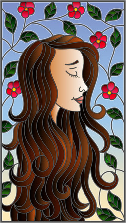 The illustration in stained glass style painting with a girl with brown hair and tree branches with flowers on background of blue sky