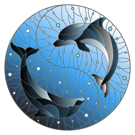 Illustration in stained glass style with two dolphins on the background of water and air bubbles in the form of the Yin Yang sign