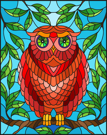 Illustration in stained glass style with fabulous red owl sitting on a tree branch against the sky