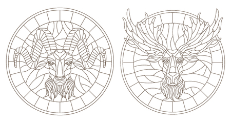 Set of contour illustrations of stained glass Windows with heads of sheep and moose, dark contours on a white background Illustration
