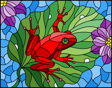 Illustration in stained glass style with abstract red frog on Lotus leaf on water and flowers Illustration