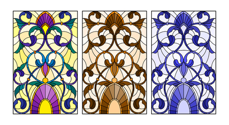 Set of illustrations of stained glass with abstract swirls and flowers