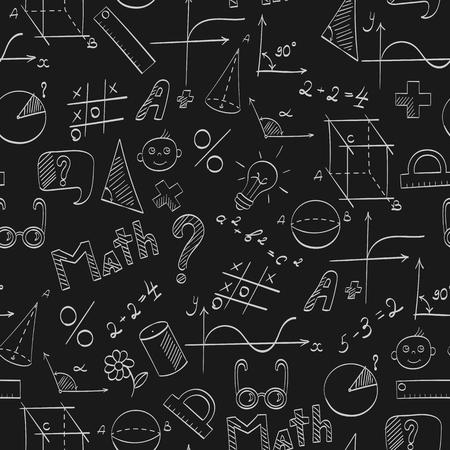 Modèle sans couture sur le thème de l'école, de l'éducation et des mathématiques de la matière, les graphiques légers dessinés à la main, les formules et les icônes sur fond sombre