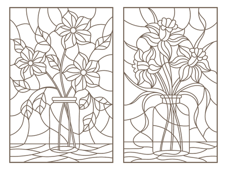 Set of contour illustrations of stained glass Windows with still lifes with bouquets of flowers in banks, dark contours on a light background