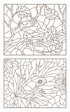 Set of contour illustrations of stained glass Windows with frogs on plants, dark contours on a light background Иллюстрация