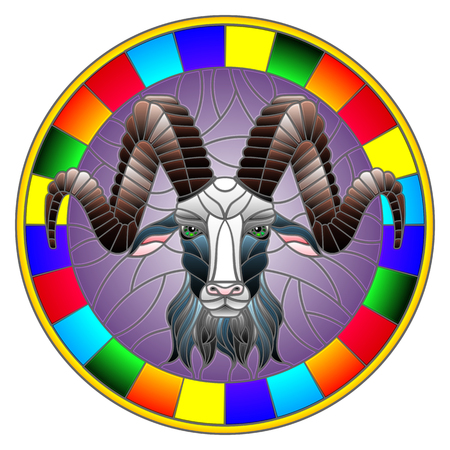 Illustration in stained glass style with ram head in round frame on white background Illustration