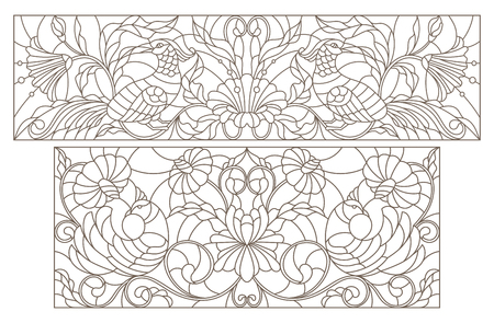 Set contour illustrations of stained glass with abstract flowers and birds and the dark outline on a white background Иллюстрация