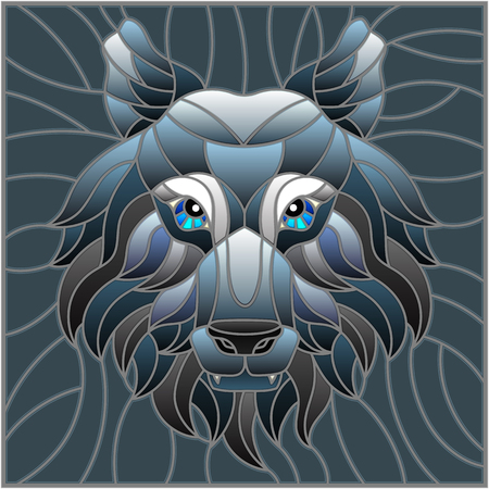 The illustration in stained glass style painting with a wolf head , on grey background, square image Illustration