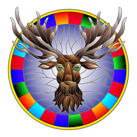 Illustration in stained glass style with moose head in round frame on white background