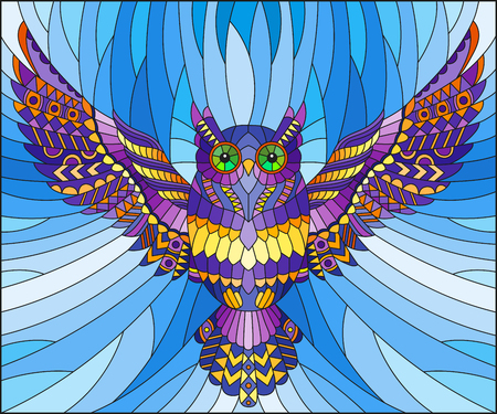 Illustration in stained glass style with abstract purple owl flying on sky background
