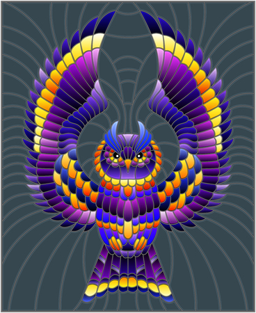 Illustration in stained glass style with abstract purple owl flying on a grey  background