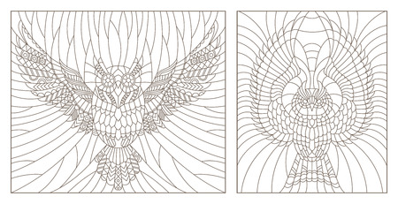 Set contour illustration of a flying owl , dark outlines on a light background