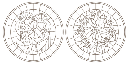 Set of contour illustrations of stained glass Windows on biblical theme, Jesus baby with Mary and Joseph and Christmas wreath with Holly, dark outlines on white background,round image in  frame 矢量图像