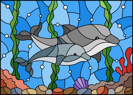 Illustration in stained glass style with a pair of dolphins on the background of water and the seabed Illustration