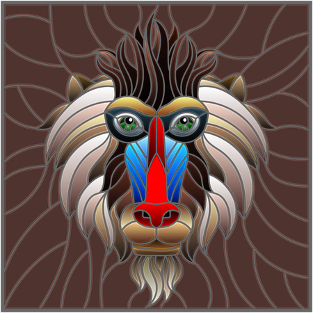 The illustration in stained glass style painting with a monkey's head on brown background , rectangle image