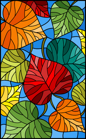 Illustration in stained glass style with colorful leaves  trees on a blue  background