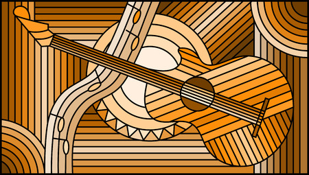 Illustration in stained glass style on the theme of music, abstract guitar and notes ,monochrome,tone brown,