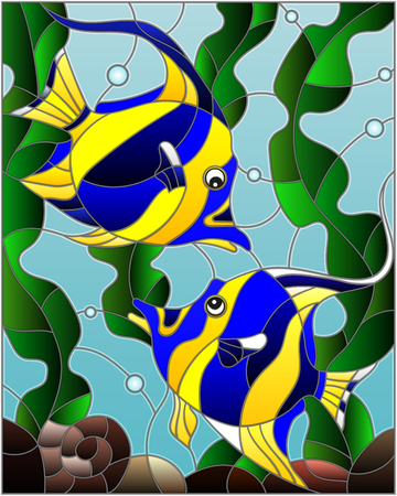Illustration in stained glass style with a with a pair of striped yellow-blue fishes on the background of water and algae Ilustração