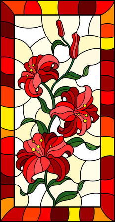 Illustration in stained glass style with a branch of red lilies on a light background, vertical image in bright frame Stock Illustratie