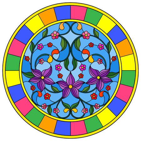 Illustration in stained glass style with abstraction flowers and leaves  on a blue background in a bright frame