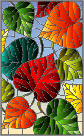 Illustration in stained glass style with colorful leaves trees on a blue  background Illustration