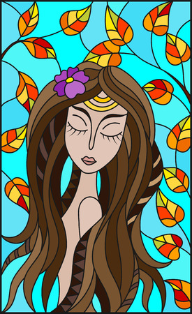 The illustration in stained glass style painting with a girl with brown hair and tree branches on background of blue sky