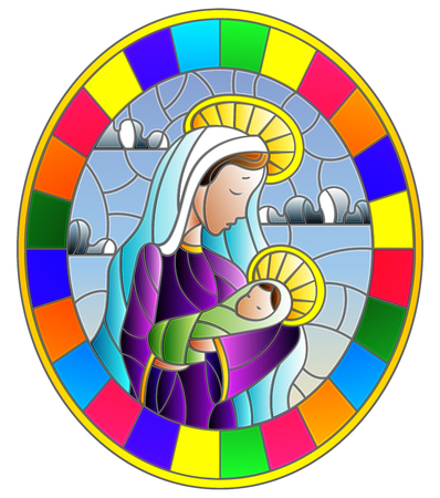 Illustration in stained glass style on biblical theme, Jesus baby with Mary , abstract figures on sky background with clouds, round image in bright frame Ilustração