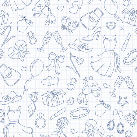 Seamless pattern on the theme of international womens day March 8, a simple outline icon on the topic of women, blue  contour  icons on the clean writing-book sheet in a cage Illustration